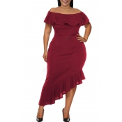 Lovely Casual Asymmetrical Flounce Design Purplish