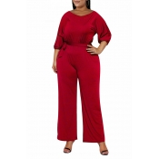 Lovely Casual Hubble-bubble Sleeves Red Plus Size