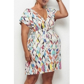 Lovely Casual Geometric Printed White Knee Length