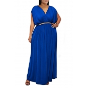 Lovely Casual V Neck Sleeveless Royal Blue Ankle Length Plus Size Dress(Without Belt)