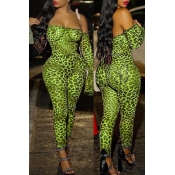 Lovely Sexy Leopard Printed Green One-piece Jumpsu