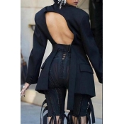 Lovely Casual Turndown Collar Hollow-out Black Coa