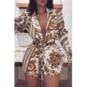Lovely Casual Deep V Neck Printed Brown One-piece