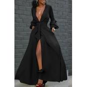 Lovely Casual V Neck Buttons Design Black Floor Length Dress
