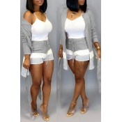 Lovely Casual Patchwork Grey Two-piece Shorts Set(Without Tank Top)