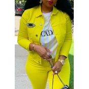 Lovely Casual Turndown Collar Buttons Design Yello