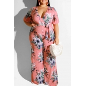 Lovely Casual Printed Pink Plus Size One-piece Jum