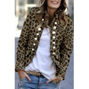 Lovely Button Design Leopard Printed Coat