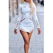 Lovely Casual Turtleneck Hollow-out White Mini Dre