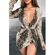 Lovely Sexy Deep V Neck Leopard Printed Mini Dress