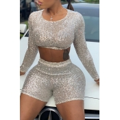 Lovely Casual O Neck Sequined Beige Two-piece Shor