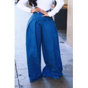 Lovely Casual Draped Design Deep Blue Jeans