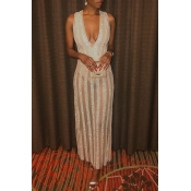 Lovely Party Striped Gold Floor Length Evening Dre