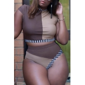 Lovely Patchwork Brown Plus Size Two-piece Swimwea