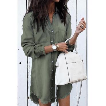 Lovely Trendy Turndown Collar Army Green Mini Dress