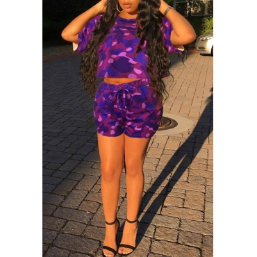 Lovely Casual Camouflage Printed Purple Two-piece Shorts Set