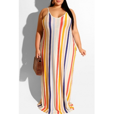 Lovely Casual Striped Apricot Floor Length Plus Size Dress