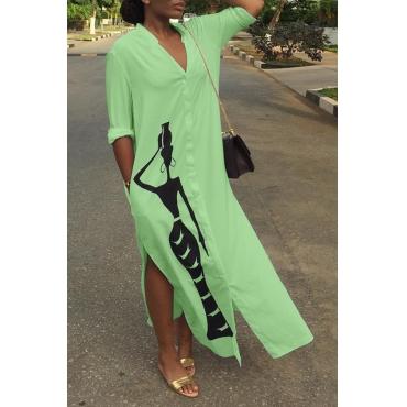 Lovely Casual Printed Slit Green Ankle Length Dress