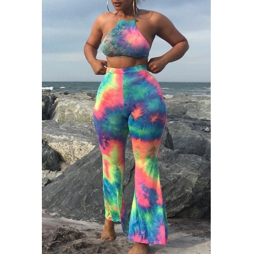 Lovely Trendy Spaghetti Straps Printed Multicolor Two-piece Pants Set