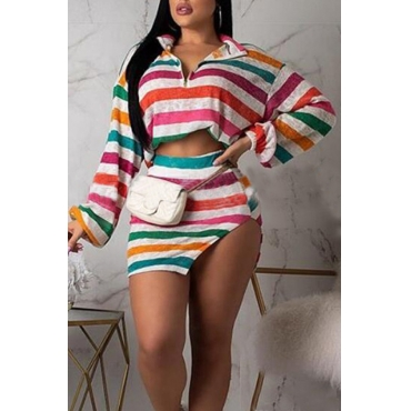 Lovely Trendy Striped Multicolor Two-piece Skirt Set