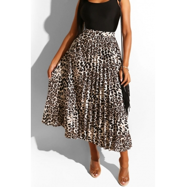 Lovely Trendy Ruffle Design Leopard Printed Mid Calf Skirt
