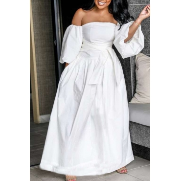 Lovely Casual Dew Shoulder White Ankle Length Dress