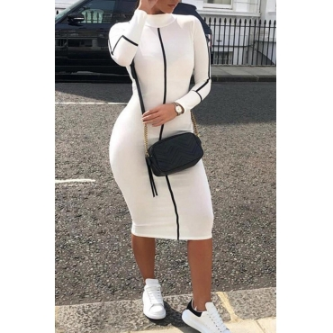 Lovely Casual Turtleneck Printed White Mid Calf Dress