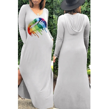 Lovely Casual Lip Printed Light Grey Ankle Length Dress