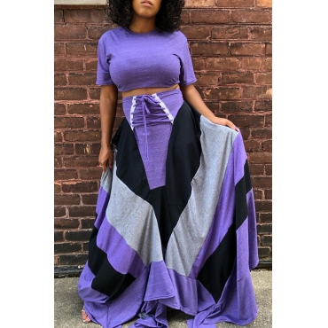 Lovely Casual Patchwork Purple Two-piece Skirt Set