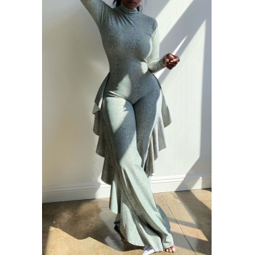 Lovely Trendy Flounce Design Grey One-piece Jumpsuit