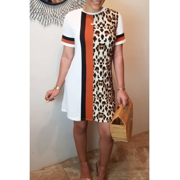 Lovely Casual O Neck Leopard Printed Patchwork White Mini Dress