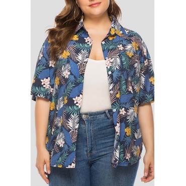 Lovely Leisure Floral Printed Blue Plus Size Blouse