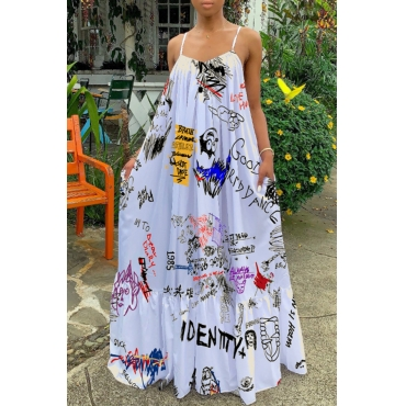 Lovely Casual Spaghetti Straps Printed White Floor Length Dress