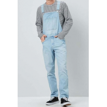 Lovely Casual Pocket Patched  Baby Blue Jeans
