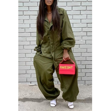 Lovely Casual Turndown Collar Buttons Decorative Army Green One-piece Jumpsuit