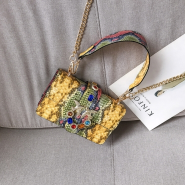 Lovely Casual Patchwork Yellow Messenger Bag