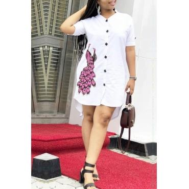 Lovely Casual Mandarin Collar Printed White Mini Dress