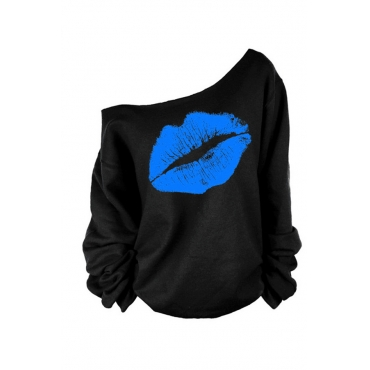 Lovely Casual Lip Printed Blue Plus Size T-shirt