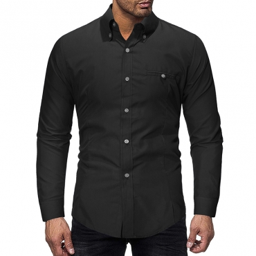 Lovely Casual Turndown Collar Buttons Design Black Shirt