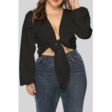 Lovely Casual V Neck Knot Design Black Plus Size Blouse