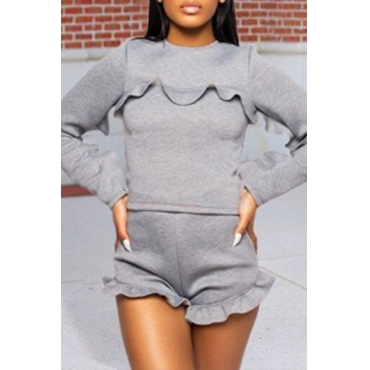 Lovely Sweet Flounce Design Grey Two-piece Shorts Set