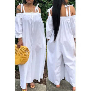 Lovely Leisure Lace-up Loose White One-piece Jumpsuit