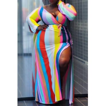 Lovely Casual Striped Slit Multicolor Floor Length Plus Size Dress