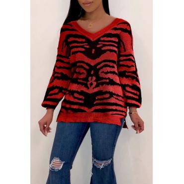 Lovely Trendy V Neck Slit Red Sweaters