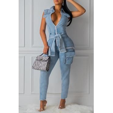 Lovely Trendy Knot Design Blue One-piece Jumpsuit