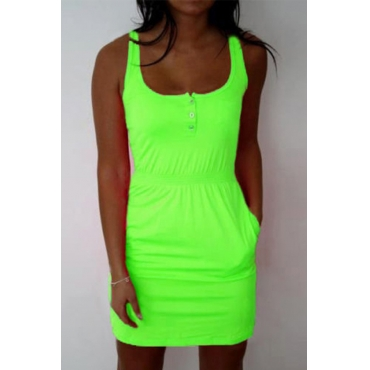 Lovely Casual U Neck Pockets Design Green Mini Dress