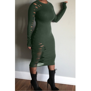 Lovely Casual Hollow-out Green Mid Calf Dress