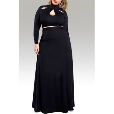 Lovely Casual Hollow-out Black Plus Size Two-piece Skirt Set