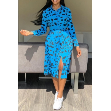 Lovely Trendy Turndown Collar Printed Blue Mid Calf Dress