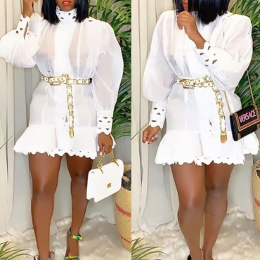 Lovely Party Mandarin Collar Flounce Design White Mini Dress(Without Belt)